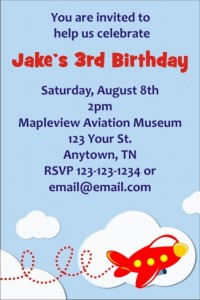 Party Archives - Airplane birthday invitation template