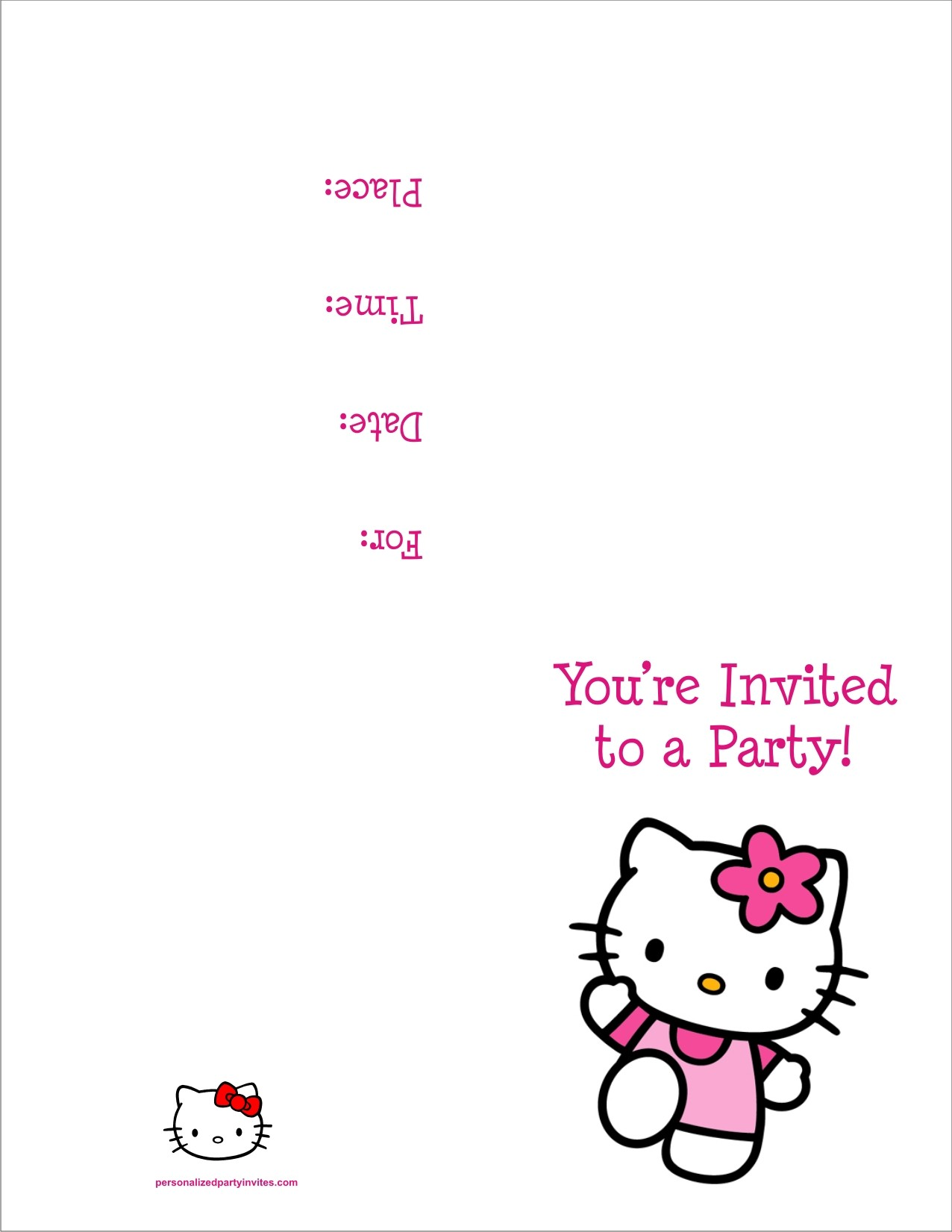 Hello Kitty FREE Printable Birthday Party Invitation Personalized - Birthday party invitation cards to print