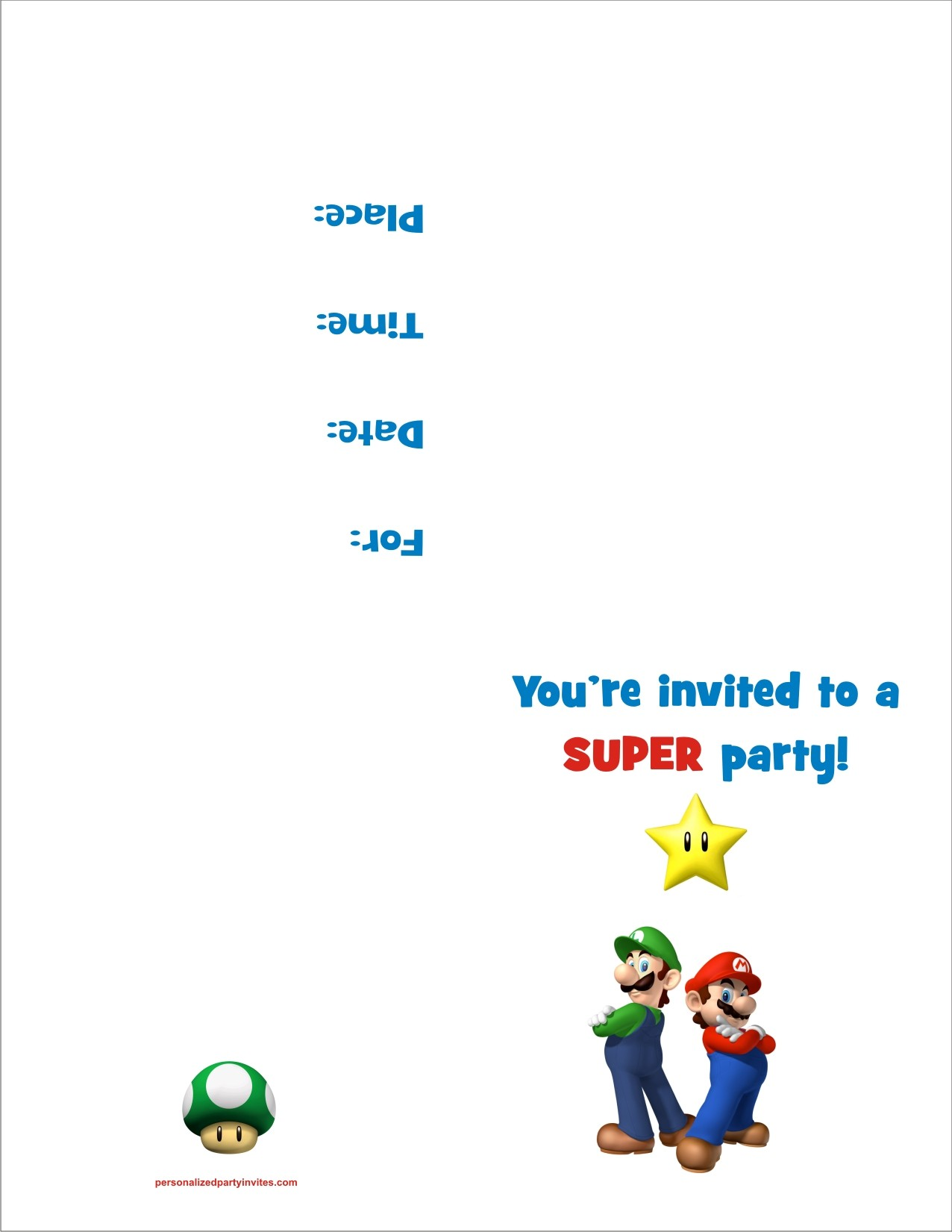 Super Mario Bros FREE Printable Birthday Party Invitation – Super Mario Bros Party Invitations