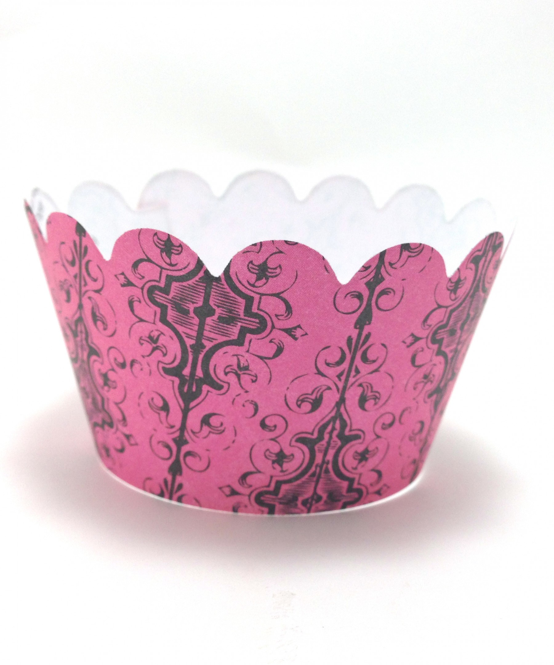 Pink Gothic Stripe Cupcake Wrappers - 24ct Personalized Party Invites