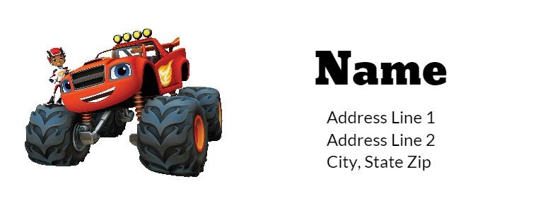 Blaze and the Monster Machines Return Address Labels Personalized ...
