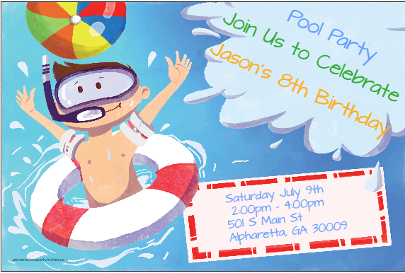 Big Splash Pool Party Invitation Personalized Party Invites