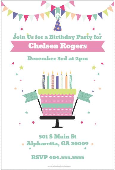 Celebration Cake Party invitation