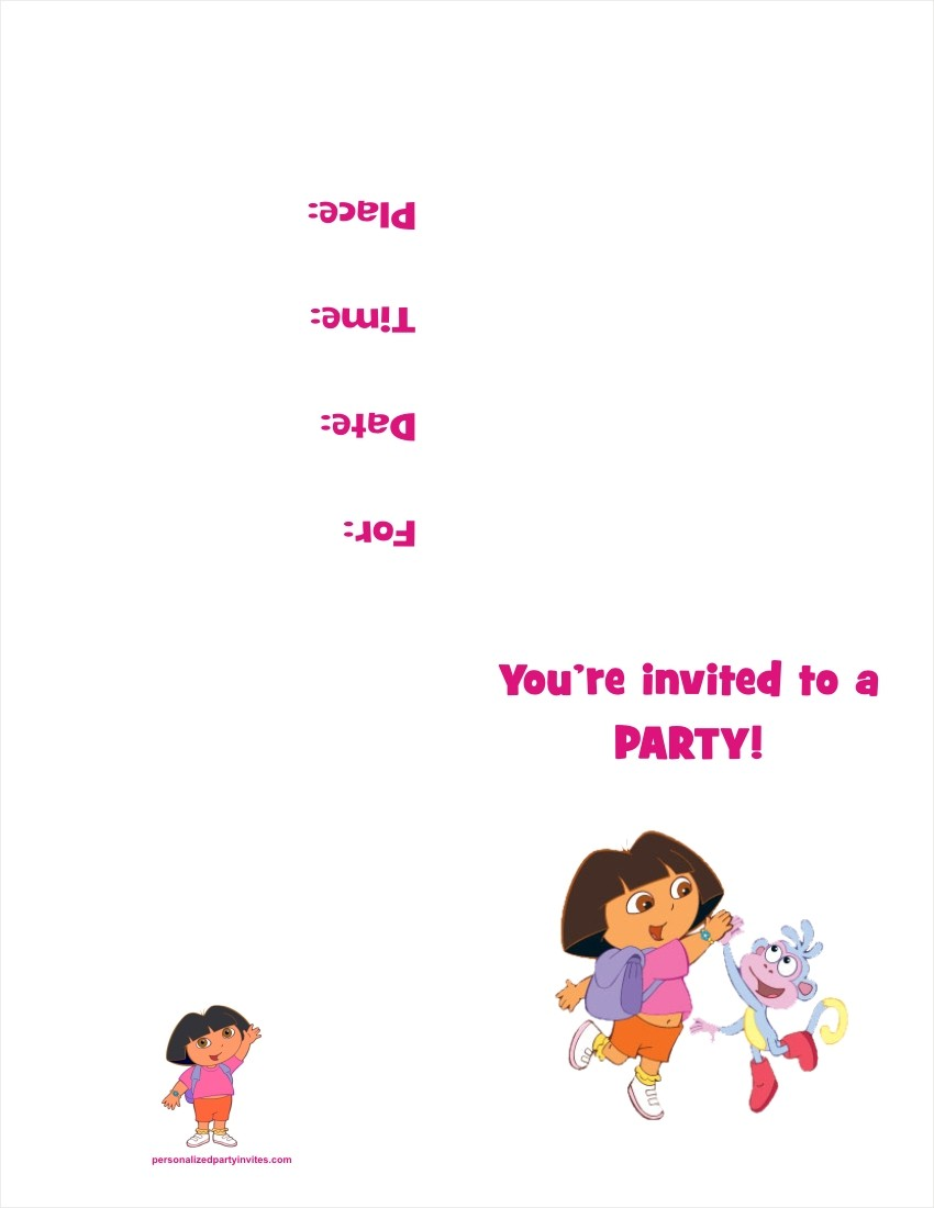 Dora The Explorer FREE Printable Birthday Party Invitation Personalized  Party Invites  Invitation Free Templates