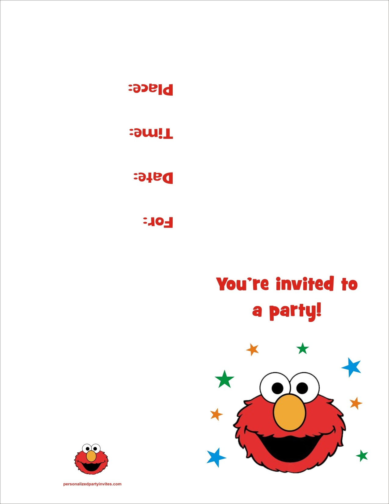 Elmo FREE Printable Birthday Party Invitation