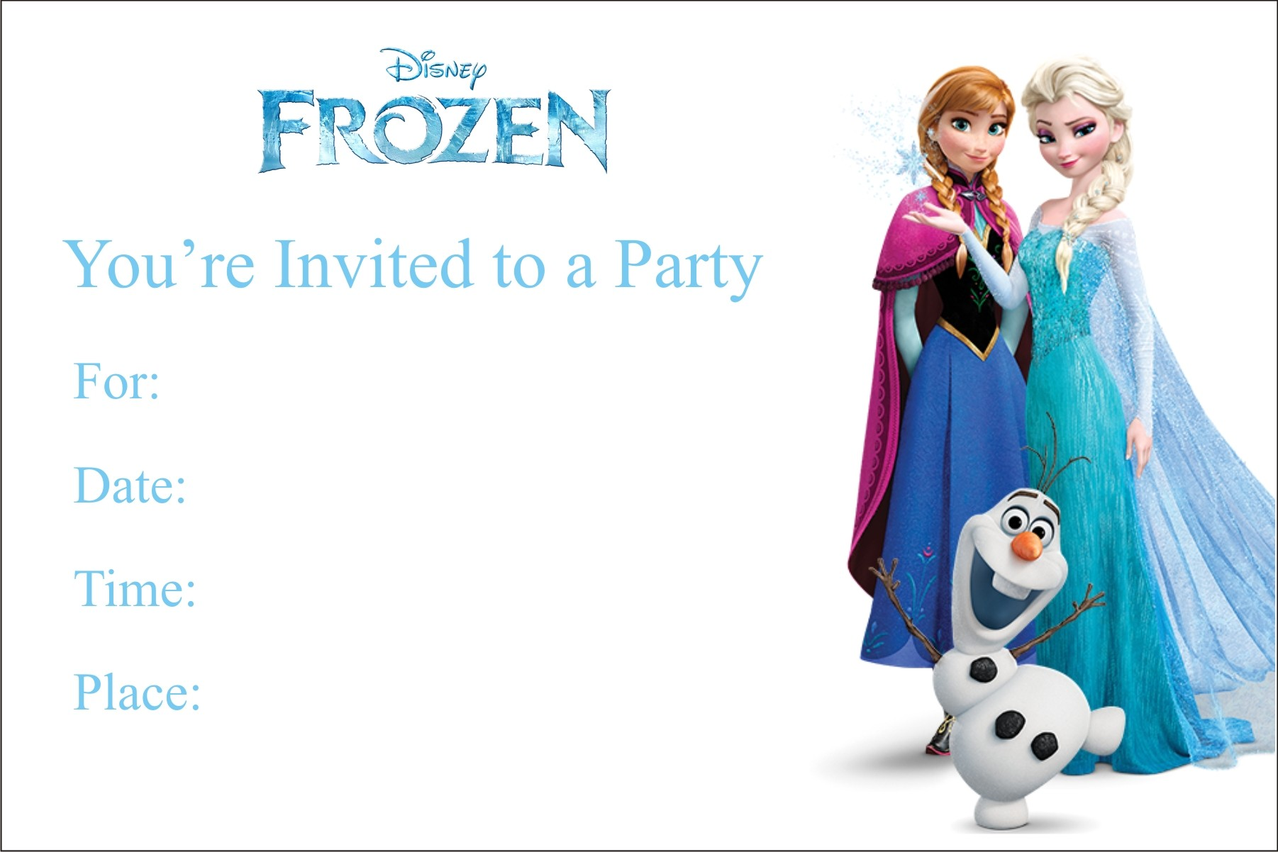 Frozen Free Printable Birthday Party Invitation Personalized Party - Birthday party invitation cards to print