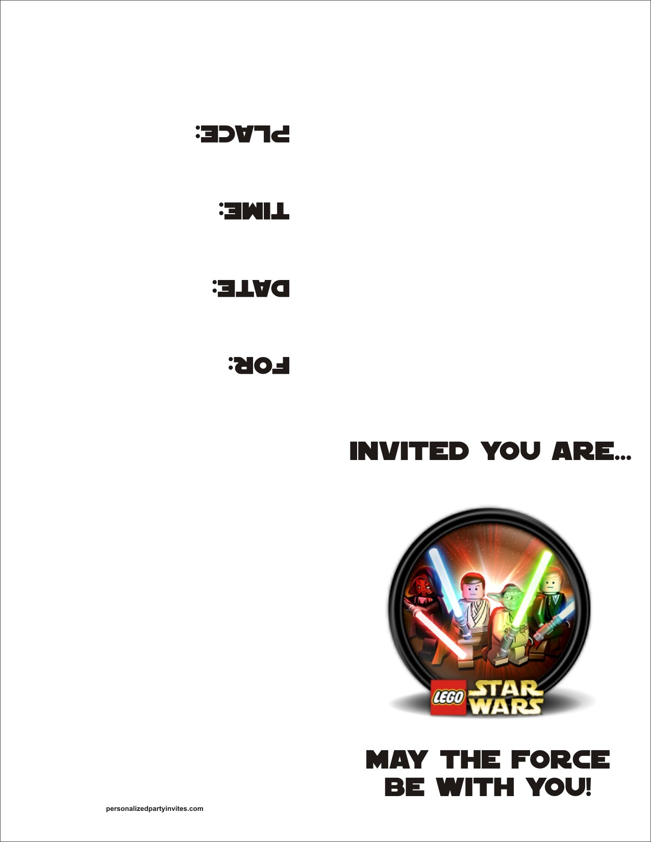 Lego Star Wars FREE Printable Birthday Party Invitation Personalized Invites