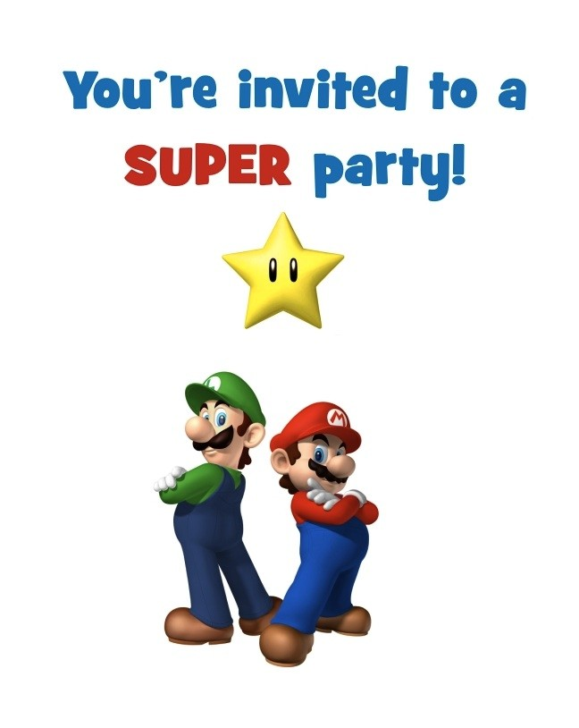 Super Mario Bros FREE Printable Birthday Party Invitation – Mario Party Invites