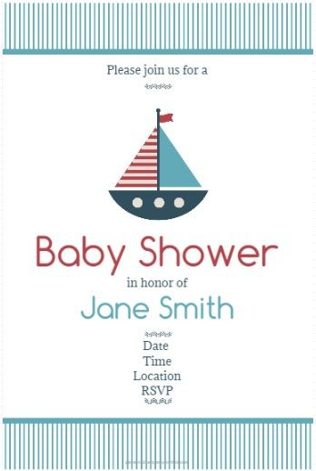 Nautical Baby Shower Invitation Sail boat