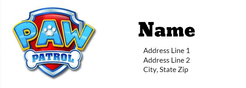 Paw Patrol Return Address Label