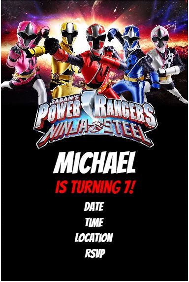 Power Rangers Ninja Steel Birthday Party Invitation