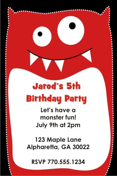 Little Monsters Invitation - Kooky Red