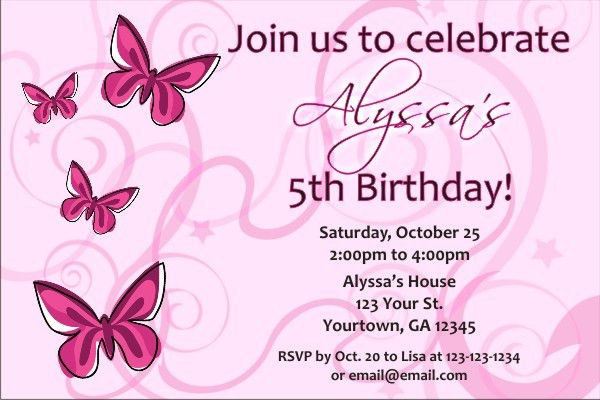 butterfly invitations personalized party invites