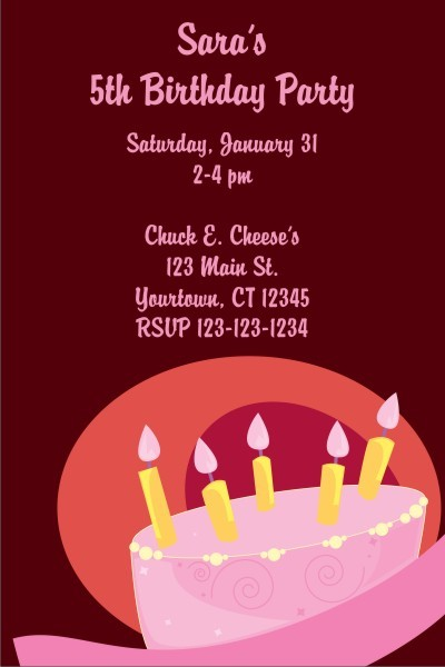 Pink Birthday Cake Invitation