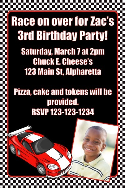 Race Car Photo Invitation