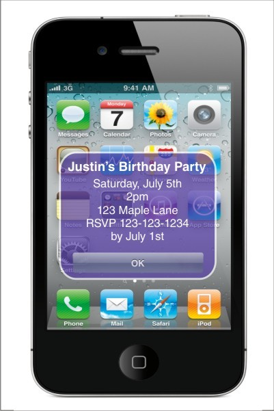 iPhone Alert Birthday Party Invitation