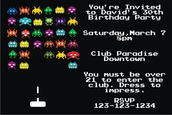 80s vintage arcade video game invitation personalized party invites
