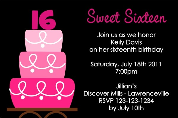 sweet 16  or any age  birthday invitation personalized