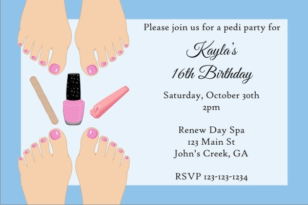 Pedicure Party Invitation Light Skin Personalized Party Invites – Pedicure Party Invitations