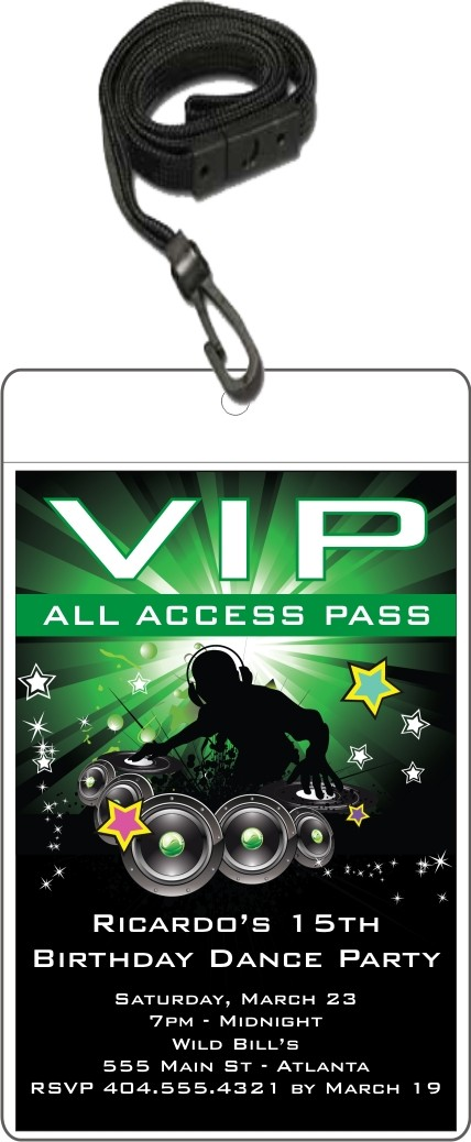VIP Pass dance party birthday party invitation nightclub