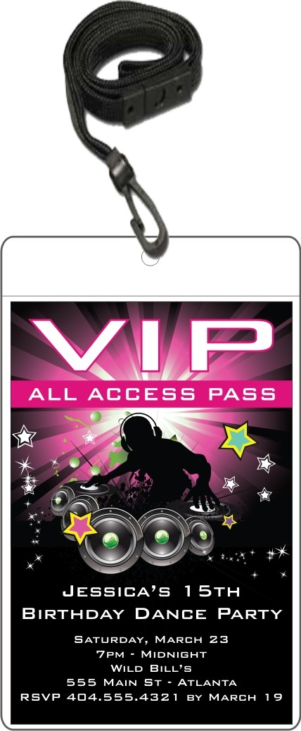 Nightclub DJ Dance Party VIP Pass Invitation w Lanyard Pink