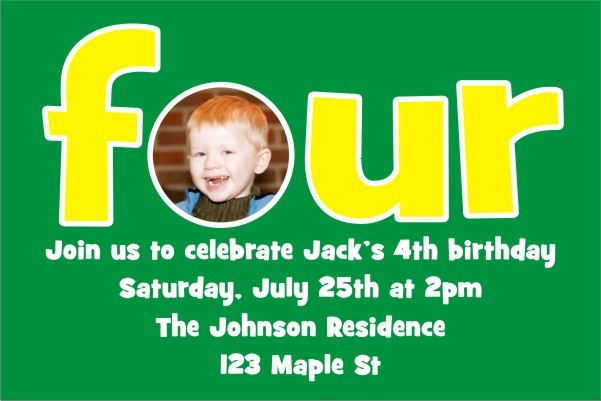 Fourth 4th Birthday Photo Invitation
