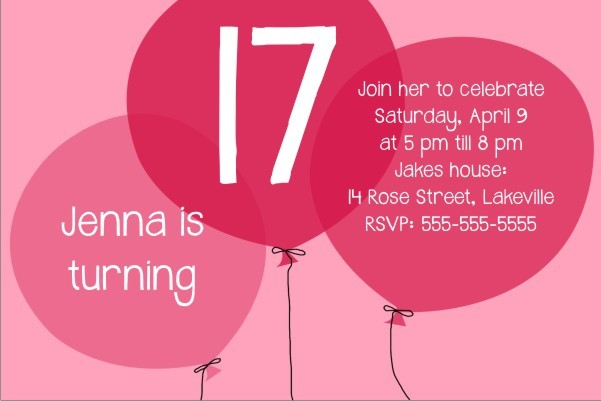 Pink Balloons birthday party invitation