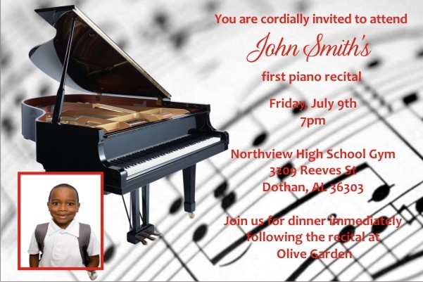 Piano Recital Invitation with Optional Photo