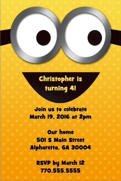 yellow minion despicable me inspired invitation personalized party, Party invitations
