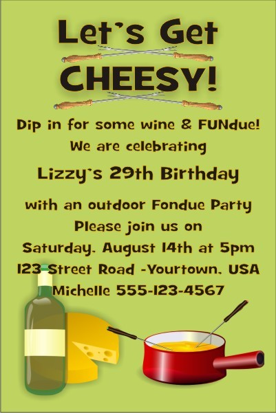 Fondue Party Invitation Personalized Party Invites – Fondue Party Invitations