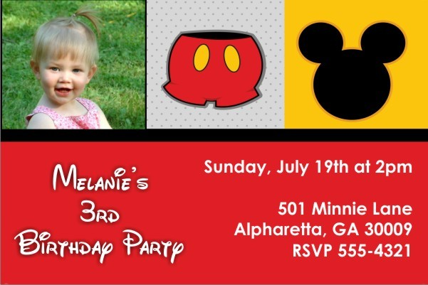 Mousy Fun Photo Invitation (Mickey Mouse)