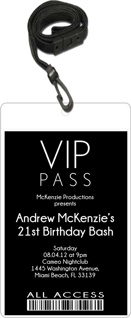 Sleek VIP Pass Invitation with Lanyard Editable Background Color – Vip Ticket Invitations