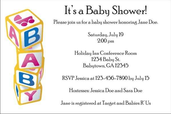 Baby Blocks Invitations 2 (black text)