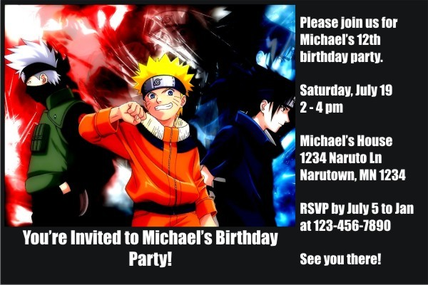 Naruto Invitations Personalized Party Invites