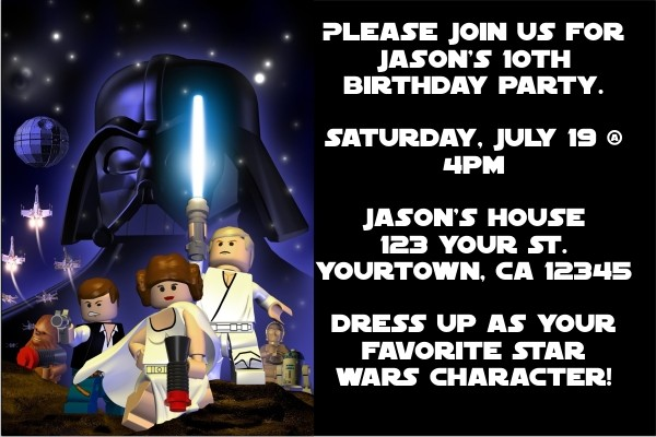 Star Wars - Lego Star Wars Invitations 2