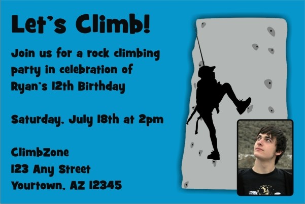 Rock Climbing Photo Invitation All Colors Personalized Party Invites