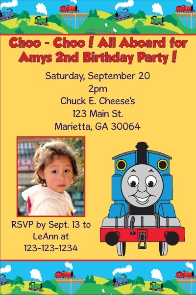 Thomas The Tank Engine Train Photo Invitations Choo Yellow Click To Personalize