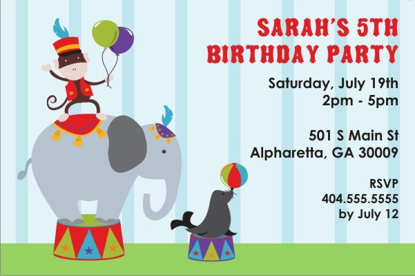 personalized circus party invitation