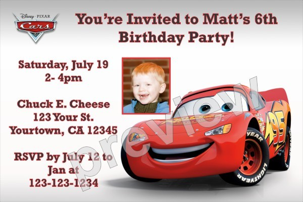 Cars Invitations DisneyPixar Personalized Party Invites – Personalized Disney Birthday Invitations