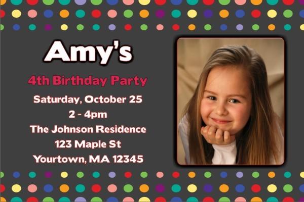 Colorful Dots Photo Invitation