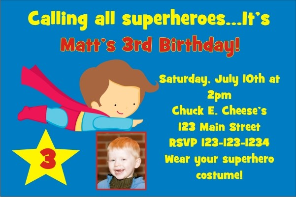 Superhero -like Superman- Birthday Invitation