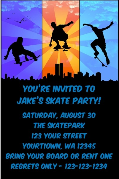 Skateboarding Invitations