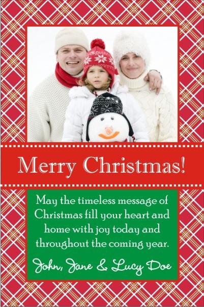 Plaid Christmas Holiday Photo Card