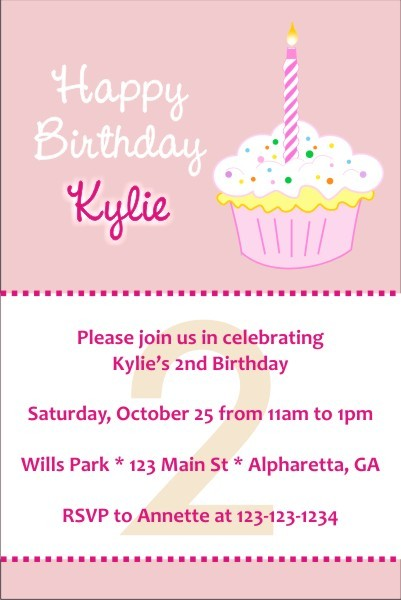 Happy Birthday Cupcake Invitations Personalized Party Invites