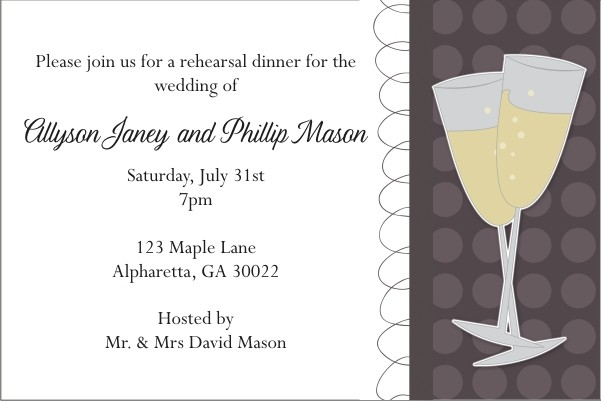 Rehearsal Dinner Party Invitation - Wine Glasses