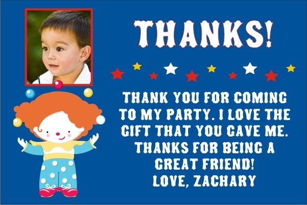 Circus Thank You Card