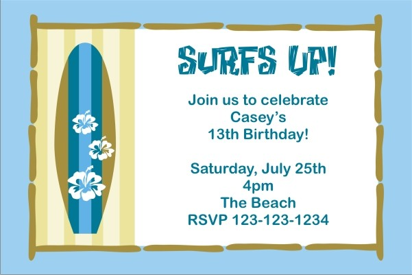 Surf Board Invitation Click To Personalize