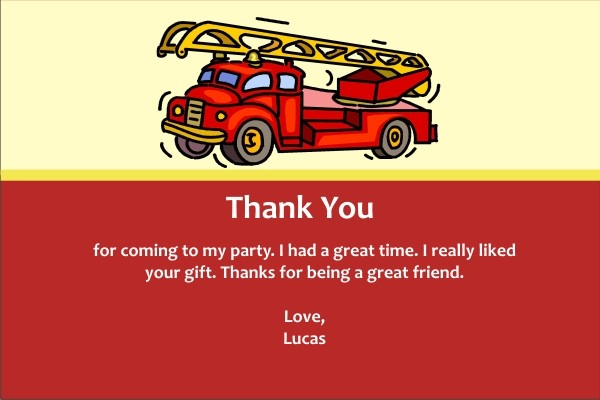 Fire Truck Thank You Cards