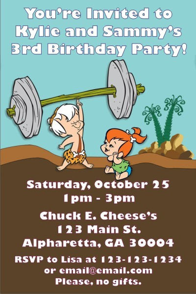 Flintstones - Pebbles and Bamm - Bamm Invitations