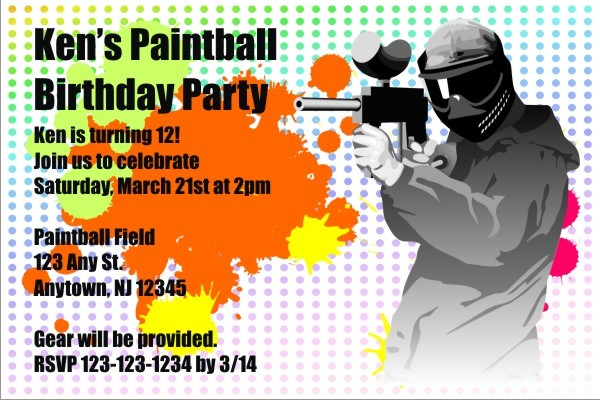 paintball invitation personalized party invites, Party invitations
